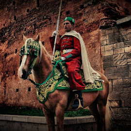 A cheval sur les traditions. by Darem Bouchentouf - City,  Street & Park  Historic Districts ( mausolée, horse, cheval, garde, mohammed v, morocco, muraille, rabat, ancient, tradition, hassan, wall, maroc,  )
