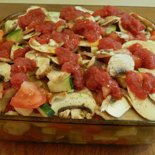 (Zucchini Marinara Bake, pictured before baking)