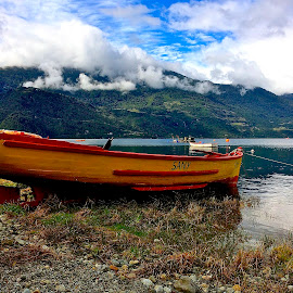 Boat in Chilean Fjord by Tyrell Heaton - Instagram & Mobile iPhone ( chile, boat, iphone, fjord )