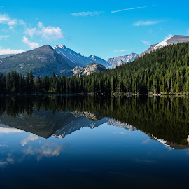 Reflective Bear Lake Colorado by Bill Kuhn - Landscapes Mountains & Hills ( reflection, bear lake, mountain, colorado, lake )