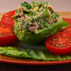 Tuna Stuffed Avocado Salad Recipe with Tomatoes, Cilantro, and Lime