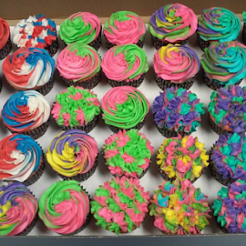 Colorful  Swirled Cup Cakes From Scratch  by Patricia Claiborne - Food & Drink Cooking & Baking ( colorful, mood factory, vibrant, happiness, January, moods, emotions, inspiration )