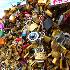 Love Locks by Abhinav Prasad - Artistic Objects Other Objects ( paris, color, endless, locks, love locks, bridge )