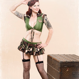 One for the Boys by Laura Wichman - People Body Art/Tattoos ( stockings, louis vuitton, girl, militray, pin up )