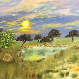 GOLDEN  SUNRISE  by Ravi Kant Khanna - Painting All Painting