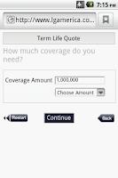 Screenshot of MobileQuote