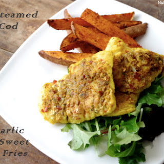 Lime Steamed Curry Cod & Chili Garlic Baked Sweet Potato Fries