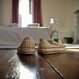 Shoes off! by Brian Knott - Artistic Objects Clothing & Accessories ( shoes, all star, wood floor, converse, trainers, sneakers )