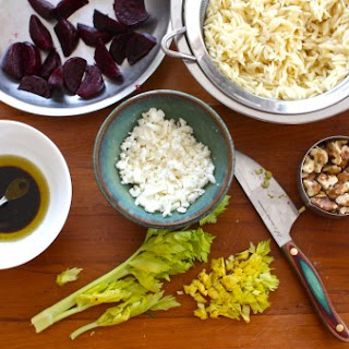 Beet & Orzo Salad with Feta, Walnuts & Celery Greens.