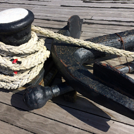 Necessary Equipment by Jane Jenkins - Transportation Boats ( rope, ship equipment, tall ship equipment, boat objects, photo stream, anchor )