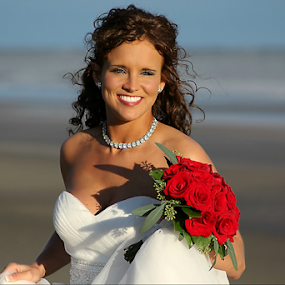 Beautiful Bride by Darlene Lankford Honeycutt - Wedding Bride ( deez, wedding, roses, dl honeycutt, beach, bride, portrait,  )