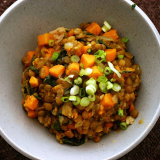 Curried Lentils With Sweet Potatoes and Swiss Chard