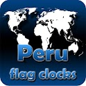 Peru flag clocks