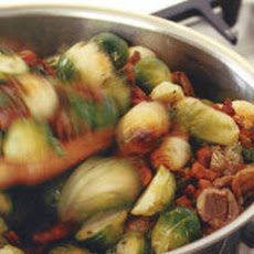 Brussels Sprouts with Chestnuts and Double-Smoked Bacon Recipe