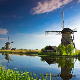 The Dutch Countryside... by Avishek Patra - Landscapes Travel ( kinderdijjk, holland, dutch country, dutch, netherlands, windmill )