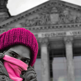 pink is the color of happiness  by Abhinav Ganorkar - People Street & Candids ( portraits of women, selective color, candid, pink, street photography, pwc, the mood factory, mood, lighting, sassy, colored, colorful, scenic, artificial, lights, scents, senses, hot pink, confident, fun, mood factory  )