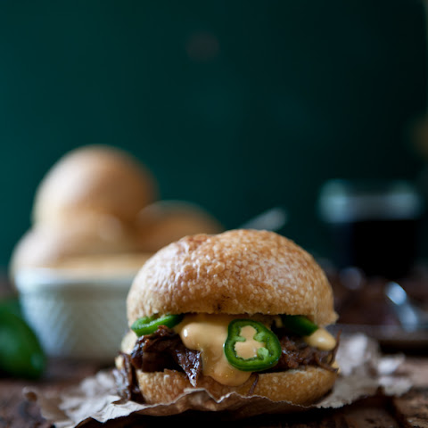 Porter Braised Beef Short Ribs Sandwiches with Jalapeño Beer Cheese Sauce