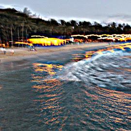 HDR Waikiki Beach by Mina Thompson - Abstract Patterns ( abstract, waikiki beach, hdr effect, beach, evening )