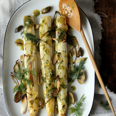 Roasted White Asparagus and Caper Berries