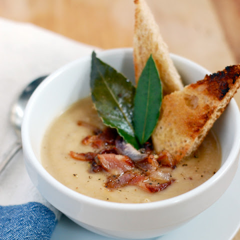 Roasted Parsnip Soup With Bacon And Shallots