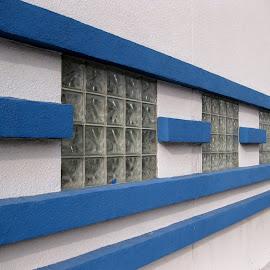 Blue lines, white building. by Dan Dusek - Buildings & Architecture Other Exteriors ( building, exterior, blue, lines, architecture,  )