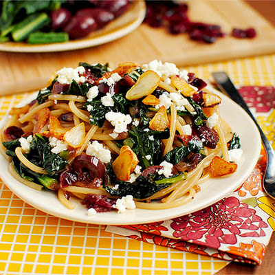 Pasta with Toasted Garlic, Dried Cranberries, Kale,