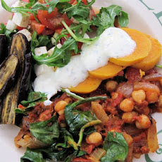 Ottolenghi Recipe With Chickpeas Sweet Potato, Lemon Garlic Yoghurt Sauce