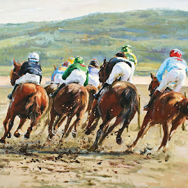 Cullinmore Beach races by Conor McGuire - Painting All Painting ( horse race ireland, races on beach, horse racing, irish horses, horse riders )