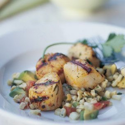Smoky Sea Scallops with Avocado-Corn Salsa