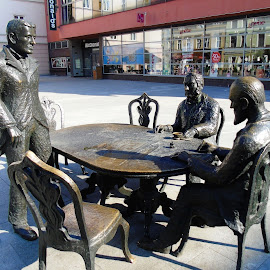 BUSINESS TALKS by Wojtylak Maria - Buildings & Architecture Statues & Monuments ( memorial, high street, monument, town, poland )