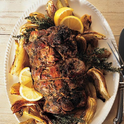 Rolled Butterflied Leg of Lamb with Herbs and Preserved Lemons