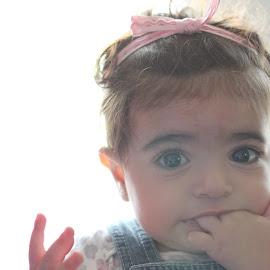 joy 1 by Samy Ayoub - Babies & Children Babies ( fingers, joy, jeans, innocence, bow, baby, eyes,  )