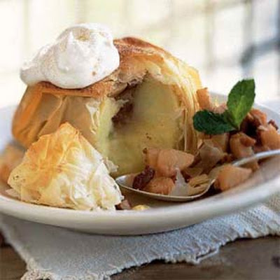 Apples Baked in Phyllo with Pear-and-Pecan Filling