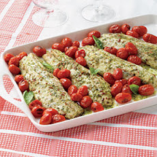 Pesto-Marinated Striped Bass with Warm Tomatoes