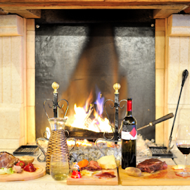 Those where the Days... by Zvonimir Cuvalo - Food & Drink Meats & Cheeses ( dinner, steak, wine, hollidays, food, fire )
