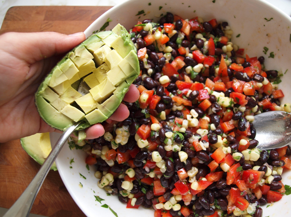 Black Bean Salad with Corn, Red Peppers and Avocado in a Lime-Cilantro ...