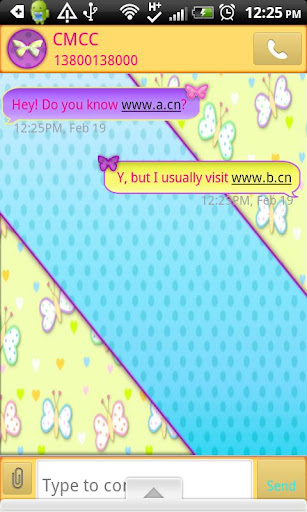 GO SMS THEME PastelButterfly