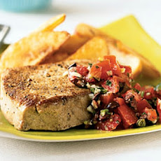Tuna Steaks with Garlic, Tomatoes, Capers, and Basil