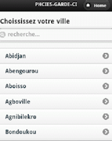 Screenshot of Pharmacies Garde Côte d'Ivoire