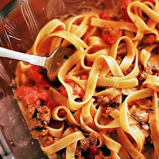 Fettuccine with Creamy Tomato and Sausage Sauce