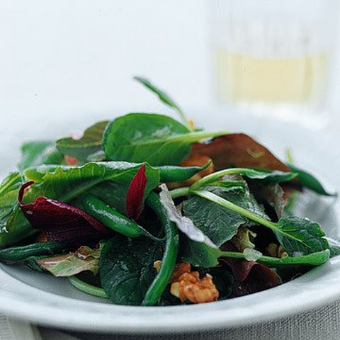 Green Salad with Toasted Walnuts, Walnut Oil, and Green Beans
