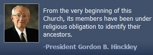 Photo and quote of immediate past Church president, Gordon B. Hinckley.