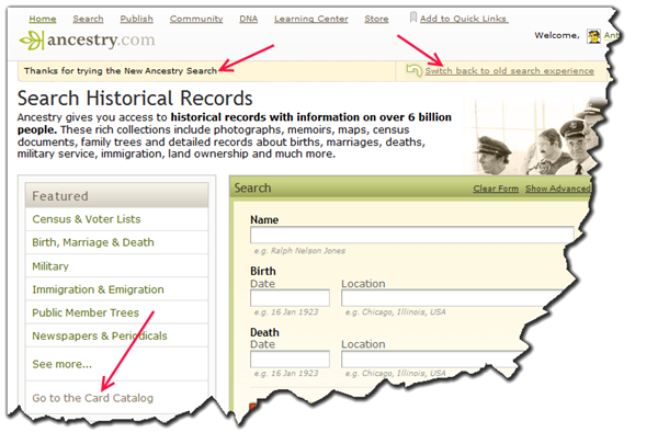For new search, click Go to the Card Catalog in the Featured box