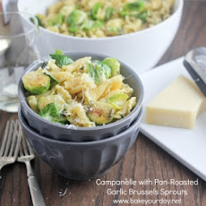 Campanelle with Pan-Roasted Garlic Brussels Sprouts & Pine Nuts