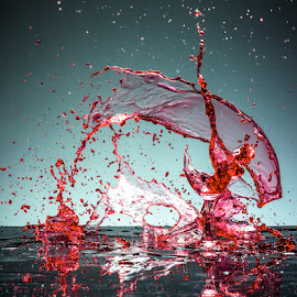 Dance  by Todor Lichev - Abstract Water Drops & Splashes ( red wine, splash photography )