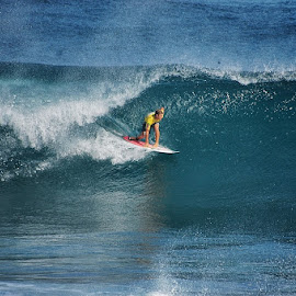 End Tube by André Philip - Sports & Fitness Surfing ( water, blue, tube, wave, surf, athlete, azores )