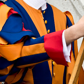 Ribbons by Heather Allen - Abstract Patterns ( swiss, orange, blue, rome, guard, ribbons, blue pontifacal, holy see, swiss guard, vatican, italy, orange. color )