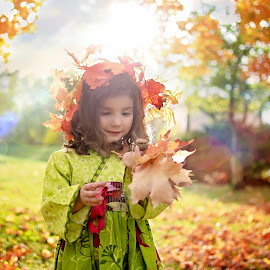 Golden Autumn by Darya Morreale - Babies & Children Child Portraits ( bouquet, girl, tiara, autumn, leaves, , fall, color, colorful, nature )