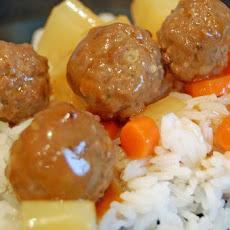 Sweet and Sour Meatballs over Rice