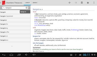 Screenshot of Chambers Thesaurus
